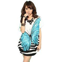 zoey patrón de mariposa de seda de la mujer encaja floja vestido azul – USD $ 6.99