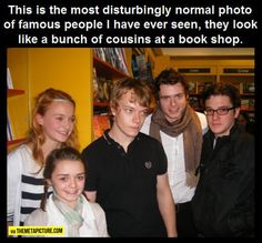 I'm guessing this is early Game of Thrones / Alfie Allen, Sophie Turner, Kit Harington, Maisie  Williams, Richard Madden