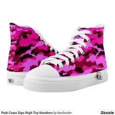 Pink Camo Zipz High Top Sneakers Printed Shoes