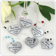 Our Wine Charms personalised with your own special message make a unique bomboniere or small remembrance gift to mark your wedding day celebration.     Our engraved charms are also perfect for bomboniere gift tags. Simply add ribbon instead of the wire ring and you have a gorgeous lasting gift tag that will be treasured long after it is received.