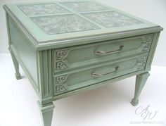 Aqua and Silver Glass Top End Table by ArtisanWorksStudio on Etsy...i just love it!