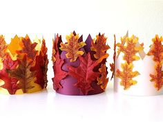 Harvest crowns for kids. Great costume idea. Kids could write a play that involves kings/queens of the seasons and make crowns for fall, winter (snowflakes), spring (green leaves) and summer (flowers).