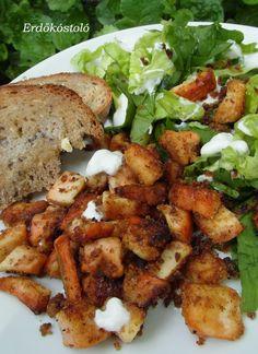 Erdőkóstoló: Sárga gévagomba kockák fokhagymás krumpli pehelybe... Meat, Chicken, Ethnic Recipes, Food, Essen, Meals, Yemek, Eten, Cubs