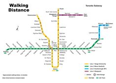 Last week Toronto's collective commute was put into perspective thanks to Pavlo Kalyta's TTC map with the walking times between each subway station. Toronto Subway, Usa Travel Map, Walking Map, Make A Map, Underground Tube, Put Things Into Perspective, Australia Map, North York, Montreal