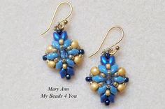 SuperDuo Beaded Earrings Blue Earrings Beadwork by mybeads4you
