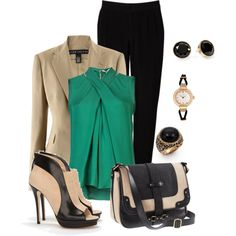 A touch of green fashion look featuring Halston Heritage blouses, Ralph Lauren blazers and Witchery pants. Browse and shop related looks.
