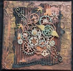 ML Design: Ink, Paint, Stamp & Paper Bliss: Steampunk. Mixed Media Journal, Mixed Media Canvas, Mixed Media Art, Mix Media, Steampunk Cards, Steampunk Heart, Steampunk Book, Altered Canvas, Altered Art