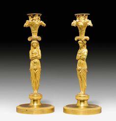 """c1810 PAIR OF CANDLESTICKS """"AUX EGYPTIENNES"""",Empire, Paris circa 1810. Gilt bronze. H 29 cm. Bronze, French Empire, Empire Style, Gold Set, Paris, Oil Lamps, Luxury Furniture, Furniture Design, Candlesticks"""
