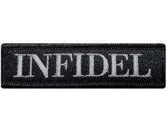 """V95 Tactical Infidel patch Subdued Grey 1""""x3.75"""" Velcro hook *Made in USA*"""