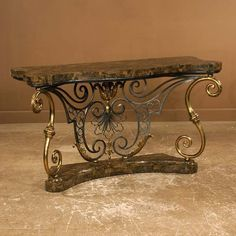 Venetian style brass and wrought iron serpentine f – metal of life Iron Furniture, Furniture Logo, Table Furniture, Wrought Iron Decor, Tuscan Design, Iron Table, Iron Work, Blacksmithing, Decoration