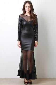 Vegan Leather Maxi Dress - Pulse Designer Fashion