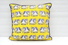 Ink blue elephant yellow decorative pillow / throw by thefolkloric, $18.00