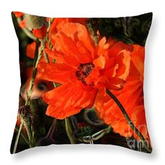© E. B. Schmidt. All Rights Reserved. Floral art decor throw pillow. (Available as prints, canvas, metal, and more.) www.ebschmidt.com #art #schmidt #flowers #floralart #orangeflowers #poppy