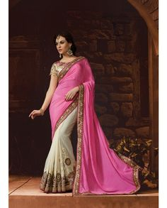 Pink and off white half and half sari embellished border   1. Pink and off white poly georgette chiffon half and half sari2. Resham thread embroidered pleats3. Comes with matching unstitched blouse