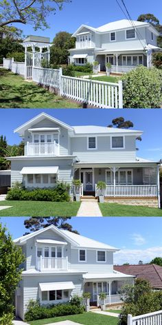 Granny pods addition second storey add - grannypods Exterior Paint Colors For House, Dream House Exterior, White Exterior Houses, House Cladding, Facade House, Hamptons Style Homes, The Hamptons, Style At Home, Weatherboard Exterior