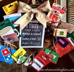 Gift Card Wreath- Teacher Appreciation Ideas