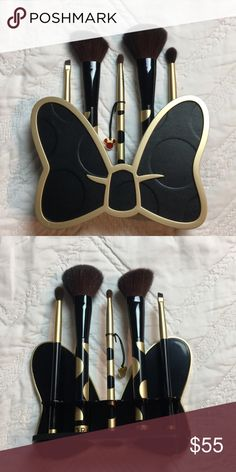 Sephora Minnie Mouse Brush Set Sephora Minnie Mouse Brush Set -Black & gold polka dot design -5 assorted brushes and iconic bow shaped holder -New without box, never used. Only displayed for a short time on my vanity.   All items from a smoke free home. Item pictured is the exact item you will receive. Same or next day shipping. Please feel free to ask any questions or make an offer. Thanks so much for looking! Sephora Makeup Brushes & Tools