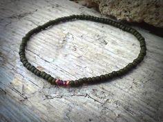 Garnet bracelet for men with toho japanese khaki by DESERTDUSTMEN