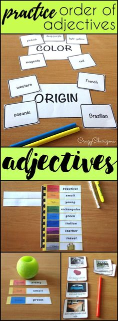 Lots of activities to practice Adjectives Order with your students. Make this chalenging topic easier for kids! | CrazyCharizma at https://www.teacherspayteachers.com/Store/Crazycharizma