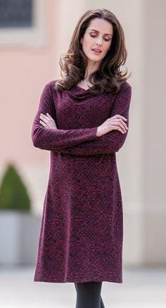 Bio Mode - Kleid in Jacquard aus Organic Cotton mit Modal Edelweiss, Größen S bis XL - Finesse Fashion ©