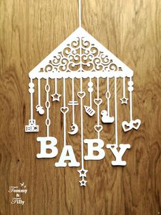 Baby Mobile 3 different designs van TommyandTillyDesign op Etsy Baby Silhouette, Kirigami, Paper Cutting Patterns, Paper Cut Design, Cricut, Marianne Design, Baby Cards, Card Templates, Clipart