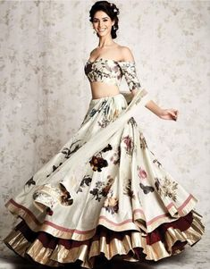 Beautiful Silk Lehenga with western cut blouse.