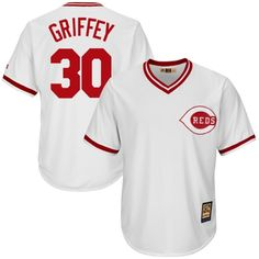 Ken Griffey Jr Cincinnati Reds Majestic Cool Base Cooperstown Collection Player Jersey - White