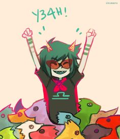 ikimaru:  Anonymous asked you: Terezi in a pile of Scalemates? :]