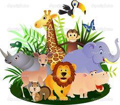 Animal safari cartoon royalty free cliparts, vectors, and stock Cartoon Baby Animals, Jungle Animals, Cute Animals, Safari Party, Safari Theme, Safari Png, Kids Zoo, Cute Elephant, Cute Animal Drawings