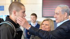 Bibi and Sara Netanyahu see their son Avner off to the IDF 12-1-14