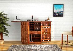 Buy Auric Large Bar Cabinet (Teak Finish) Online in India - Wooden Street Bar Furniture For Sale, Home Bar Furniture, Home Furniture Online, Furniture Shopping, Furniture Design, Wood Bar Cabinet, Wooden Cabinets, Bar Cabinets, Wooden Street