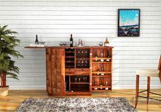 Buy Auric Large Bar Cabinet (Teak Finish) Online in India - Wooden Street Bar Furniture For Sale, Home Bar Furniture, Home Furniture Online, Furniture Design, Furniture Shopping, Wood Bar Cabinet, Wooden Cabinets, Bar Cabinets, Wooden Street