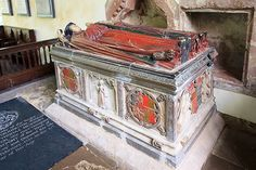 St Andrew's church, Wroxeter - tomb-chest of Sir Thomas Bromley The first of three outstanding alabaster tomb chests in the church, all with their original colouring. This is of Sir Thomas Bromley (d.1555), and his wife Mabel. He was Chief Justice of England, and an executor of the will of Henry VIII. It was probably made by Richard Parker of Burton-on-Trent.