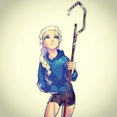 Elsa as Jack Frost.