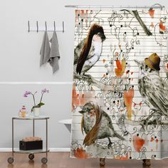 Randi Antonsen Love Birds Shower Curtain