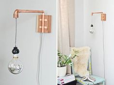 Wandlamp hanglamp koper