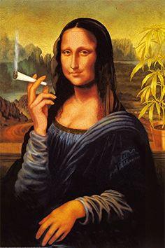 Mona Lisa Smoking Joint 24x36 Poster