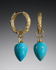 Bark Hoop with Turquoise Bud Drop – Tracy Johnson Fine Jewelry