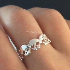 Skull Band Ring; $17.50Cdn; brass plated silver; ships from Quebec; at Etsy.com