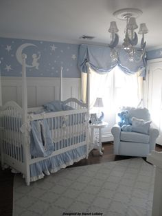 This baby #blue #nursery is so sweet!