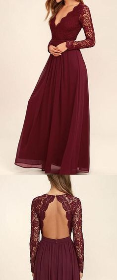 Burgundy Long Sleeve V-neck Backless Lace Top Chiffon Long Bridesmaid Dress,Prom Dress,N266 #burgundy #longsleeve #V-neck #promdress #bridesmaiddress #wedding #dresses #dress