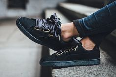 The PUMA Suede Heart Satin Just Got a Low-Key Chic Makeover. Black ... 8c0b99a83