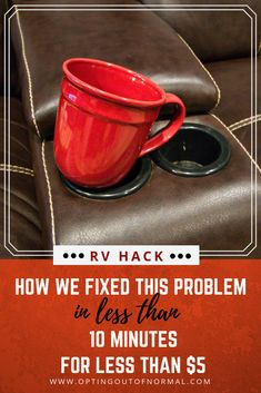 We love these cup holders in our RV theater seats. We love to drink tea, coffee or hot chocolate too! This is a DIY cup holder idea that gave us a beautiful little table to put our coffee cups on. RV living at it's best! This will work for tra Travel Trailer Camping, Rv Travel, Travel Trailer Living, Travel Bag, Camper Hacks, Rv Hacks, Hacks Diy, Rv Trailers, Travel Trailers