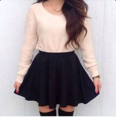 High socks, high rise A skirt with oversized pull