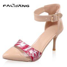 New arrival Summer plus size 11 12 13 14 15 16 17 Fashion Elegant Flower High Heels Thin Heels summer sandals ladies sandals