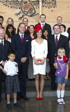 Kate and William stand alongside Canada's Governor General David Johnston (left) and Minister of Citizenship, Immigration and Multiculturalism Jason Kenney (right)