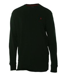 Polo Ralph Lauren Men's Big and Tall Crew Neck Long Seeve T-shirt Thermal Shirt (2XLT (Tall), Black / Red Pony). Crew neck. Long sleeve.