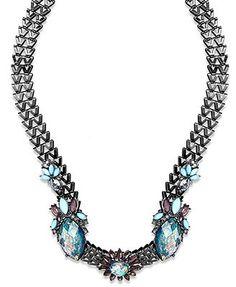Bar III Hematite-Tone Zig-Zag Chain Blue Stone Flower Necklace
