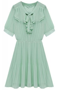 Vestido gasa volantes plisado-Verde EUR24.37