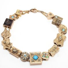 VICTORIAN 14 SLIDES BRACELET 10K AND GOLD FILLED OPALS SEED PEARLS